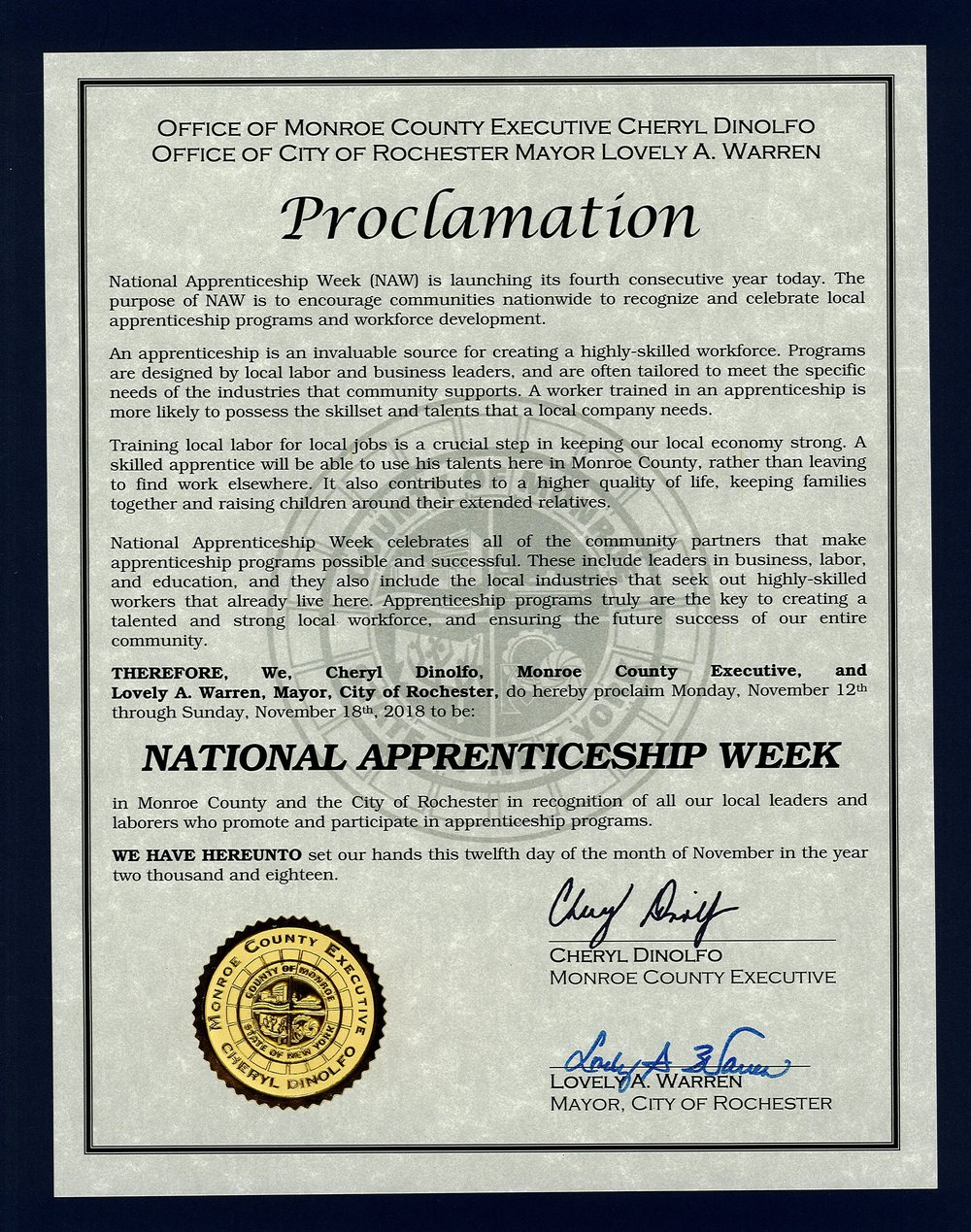 Monroe County & City of Rochester - Proclaim National Apprenticeship Week in Rochester!