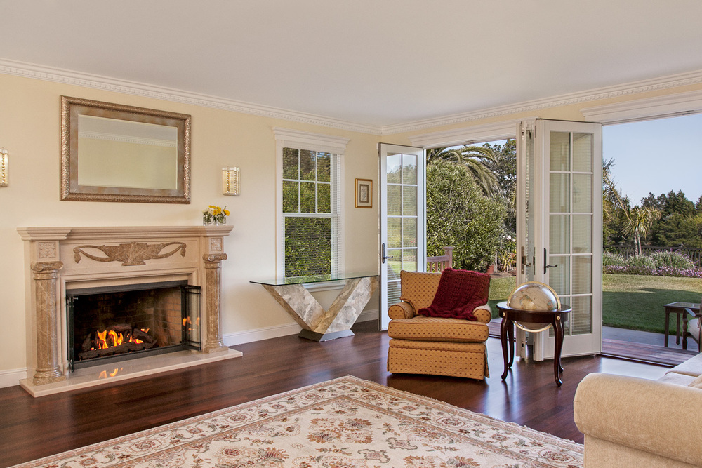 Classic Living Room with French Doors