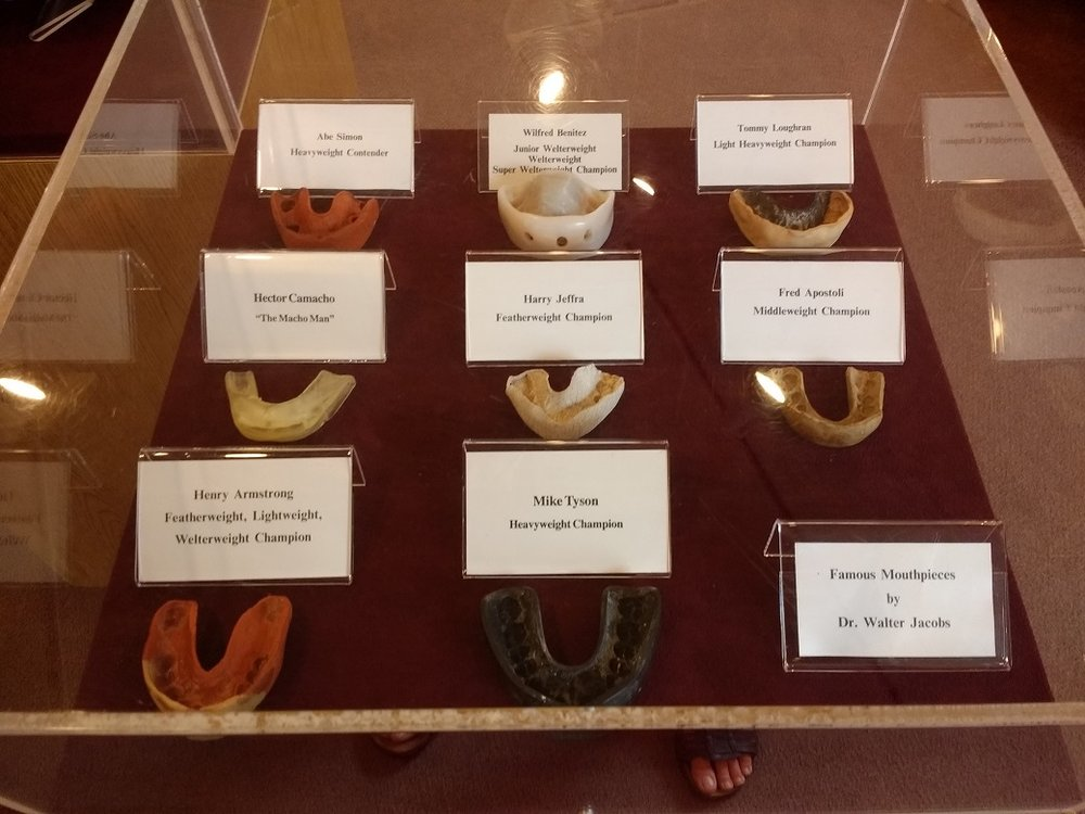 My favorite display! That's Mike Tyson's mouth guard at bottom center. Also my toes, lol.