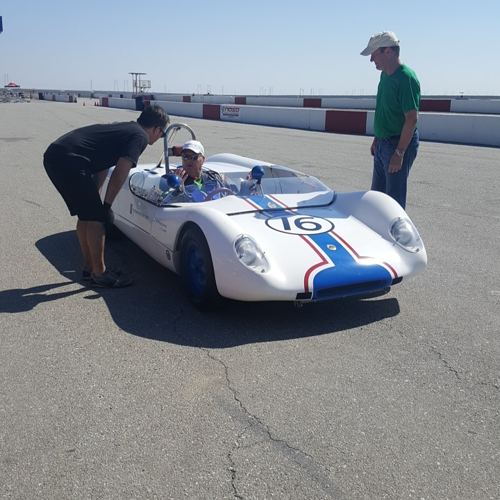 ...and finally here we are! Mike is offering a very happy new owner some coaching feedback here. We have lots of testing to do to get the car and new driver ready for their debut at the Monterey Reunion at Laguna Seca, so we will be spending quite a few days here at Buttonwillow Raceway learning all we can about this great sports racer!