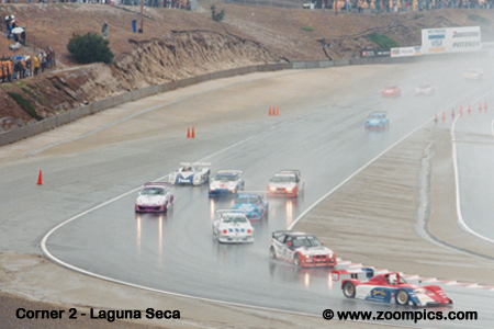 The only picture I can find of this car in 1998, behind the PTG BMW M3 at the start of the Laguna Seca IMSA race.