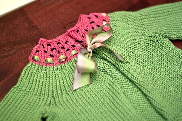 Solid yarn used in a Watermelon sweater