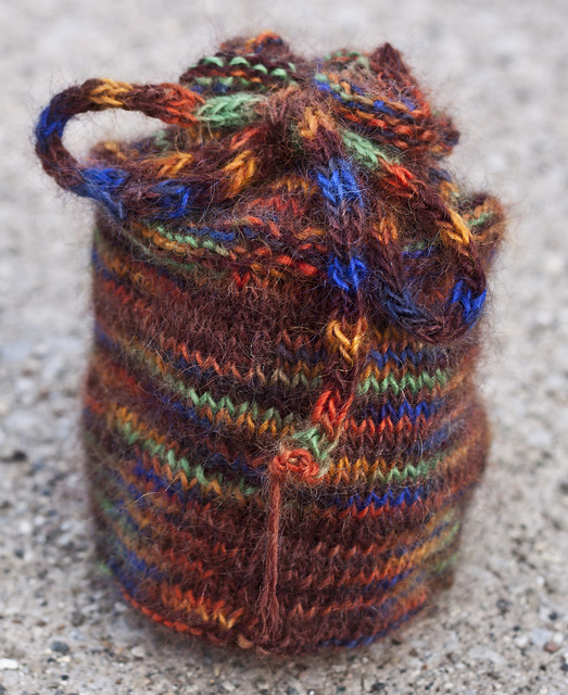 A bag made out of hand-painted yarn