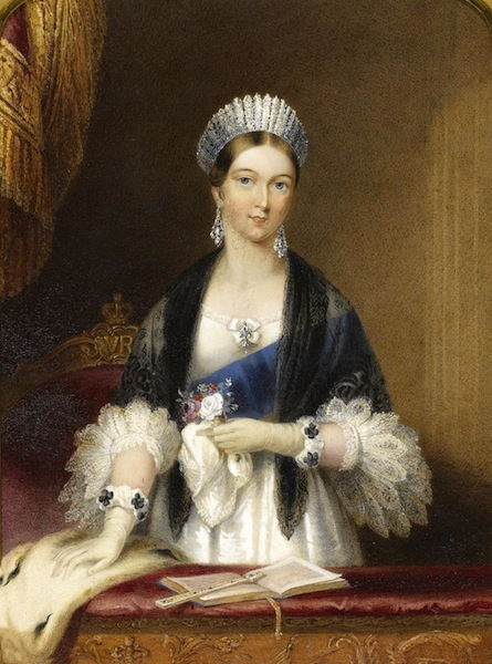 Portrait on porcelain of Queen Victoria    By Sophie Liénard   Circa 1839