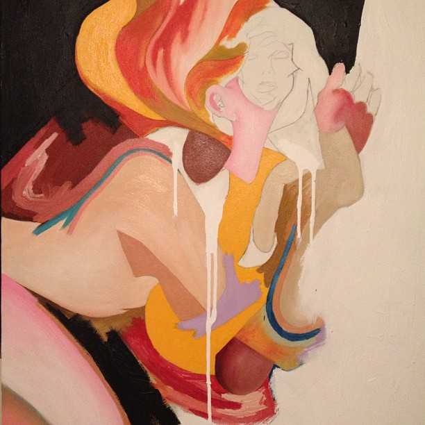New work in progress   #oil, #acrylic, #art, #painting, #oilpainting, #mixedmedia, #figurativepainting, #woman, #linework (Taken with  Instagram )