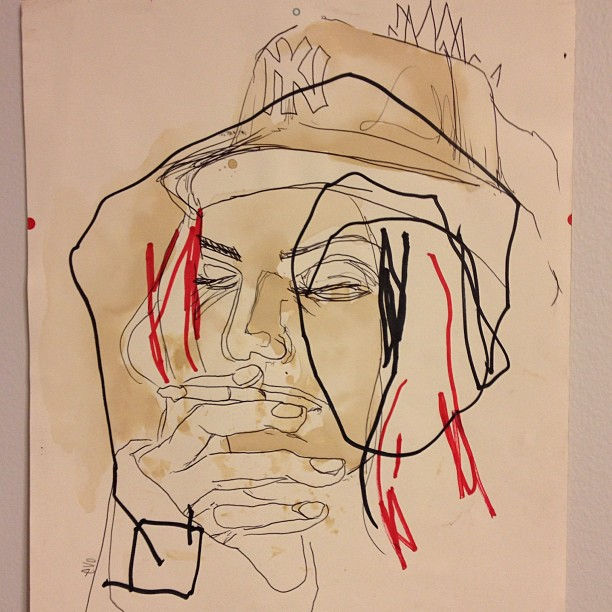 Sunday sketch mode #coffeestains, #art, #instaart, #sketch, #red, #instagood, #pen, #marker, #smoking