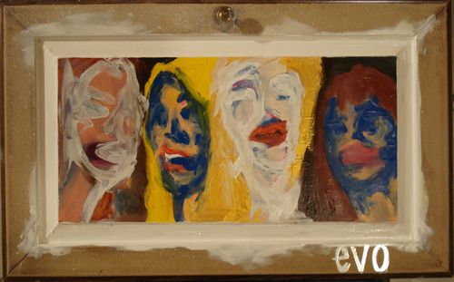 """four girls in a box"" i did this one on an old cabinet door"