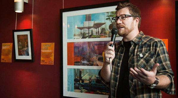 Matt Novak, author of the Paleofuture blog, at an exhibition of his collection hosted by BBC in Hollywood (2012)