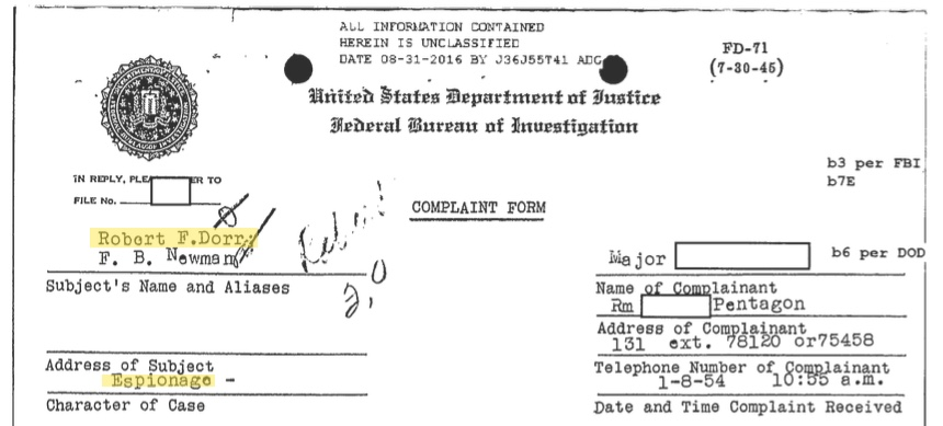 Excerpt from the newly released FBI file of military historian Robert F. Dorr, opened when he was just 14 years old (FBI through FOIA request)