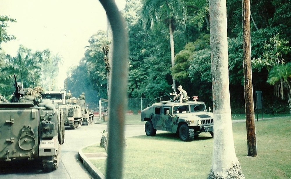 U.S. Army M113 armored personnel carriers travel on a road in Panama during Operation Just Cause in December 1989. The invasion of Panama began Dec. 20, 1989 when U.S. military forces were called to remove the regime of Manuel Noriega in Panama. (Photo: South Carolina National Guard)
