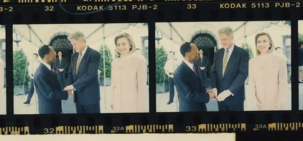 Bill Clinton, Aristide and Hillary at the White House on June 17, 1996 (Photo sheet: P041464)