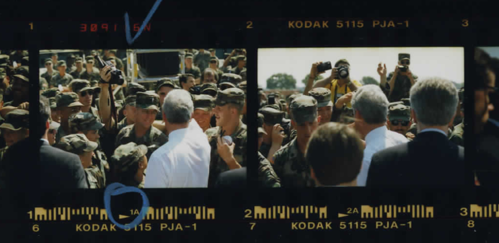 President Clinton with US troops at Warrior Base on March 31, 1995 (Photo sheet: P026012)