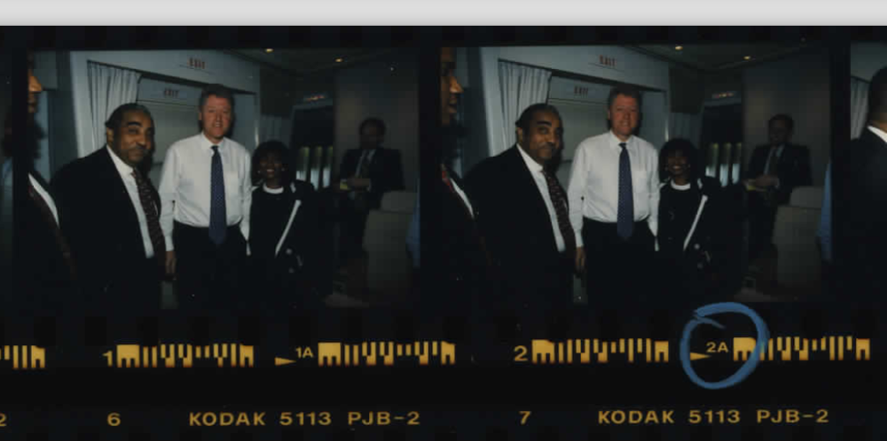 Congressman Charles Rangel on Air Force One on a flight to Haiti on March 31, 1995 (Photo sheet: P025992)