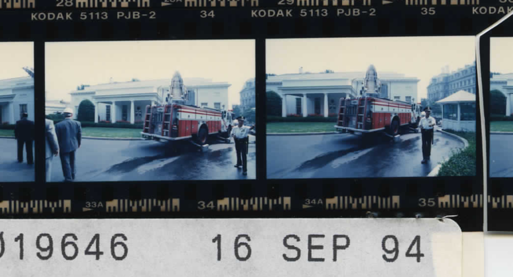 Firefighters enter the West Wing on September 16, 1994 (Photo sheet: P019646)