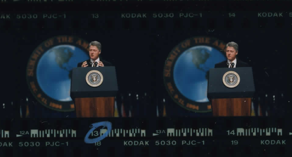 President Clinton speaks at the Miami Convention Center at the Summit of the Americas on December 11, 1994 (Photo sheet: P022880)