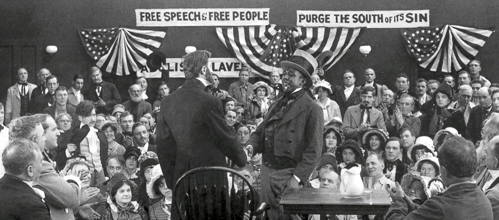 An actor plays President Abraham Lincoln in the movie  The Crisis  from 1916 (Photo published in the book  Col. William N. Selig: the Man Who Invented the Movies  and courtesy of the Academy of Motion Picture Arts and Sciences)