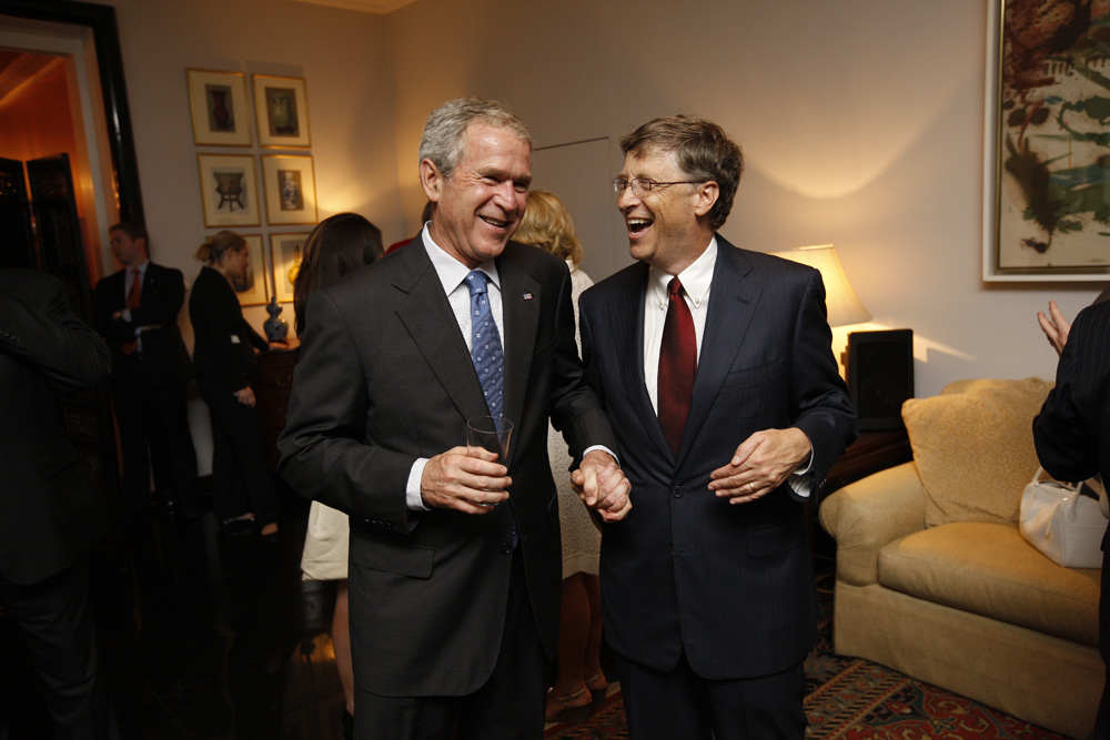 President George W. Bush and Bill Gates at a reception with CEO sponsors of the 2008 United States Summer Olympic Team at the Ambassador's Residence in Beijing, China on August 9, 2008  M1Hi_j0048 (George W. Bush Presidential Library and Museum)