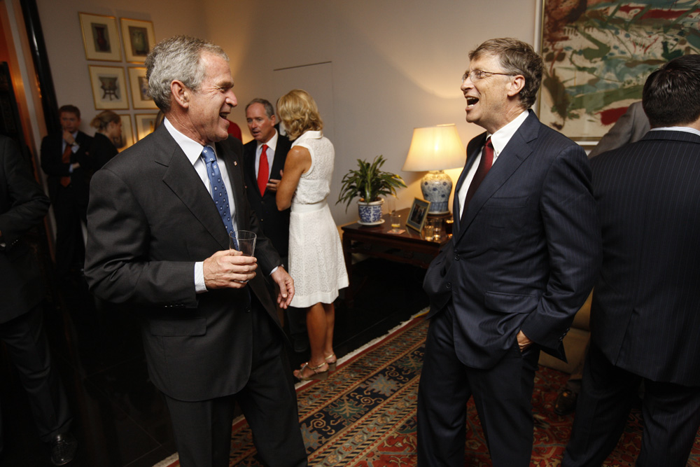President George W. Bush and Bill Gates at a reception with CEO sponsors of the 2008 United States Summer Olympic Team at the Ambassador's Residence in Beijing, China on August 9, 2008  M1Hi_j0150 (George W. Bush Presidential Library and Museum)