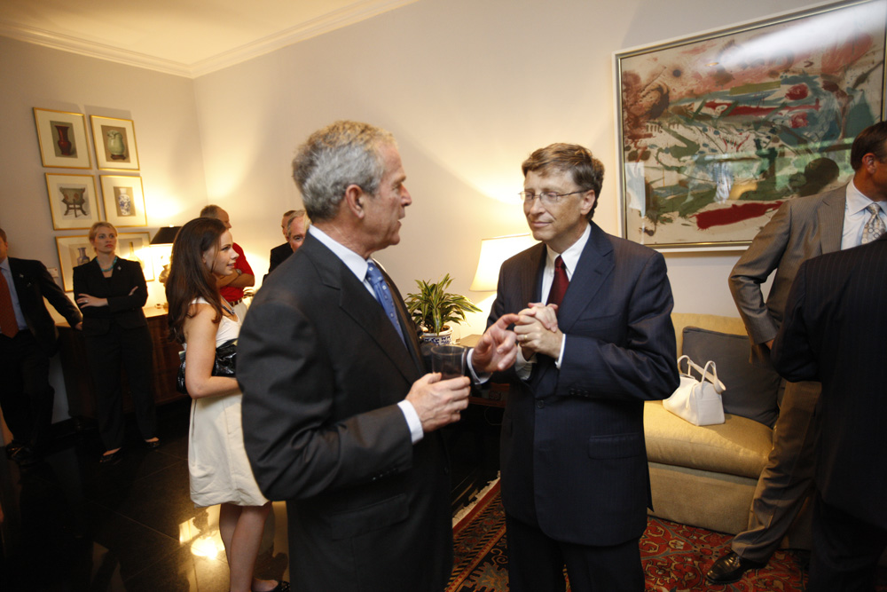 President George W. Bush and Bill Gates at a reception with CEO sponsors of the 2008 United States Summer Olympic Team at the Ambassador's Residence in Beijing, China on August 9, 2008  M1Hi_j0139 (George W. Bush Presidential Library and Museum)