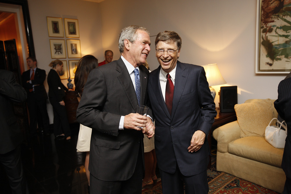 President George W. Bush and Bill Gates at a reception with CEO sponsors of the 2008 United States Summer Olympic Team at the Ambassador's Residence in Beijing, China on August 9, 2008  M1Hi_j0221 (George W. Bush Presidential Library and Museum)
