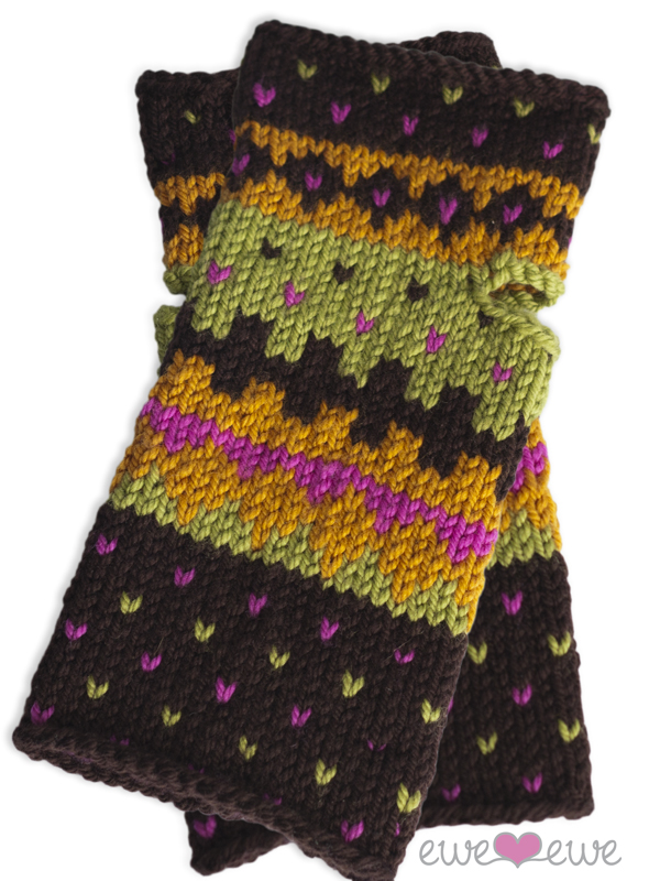 Fair Isle Friends wrist warmers knitting pattern