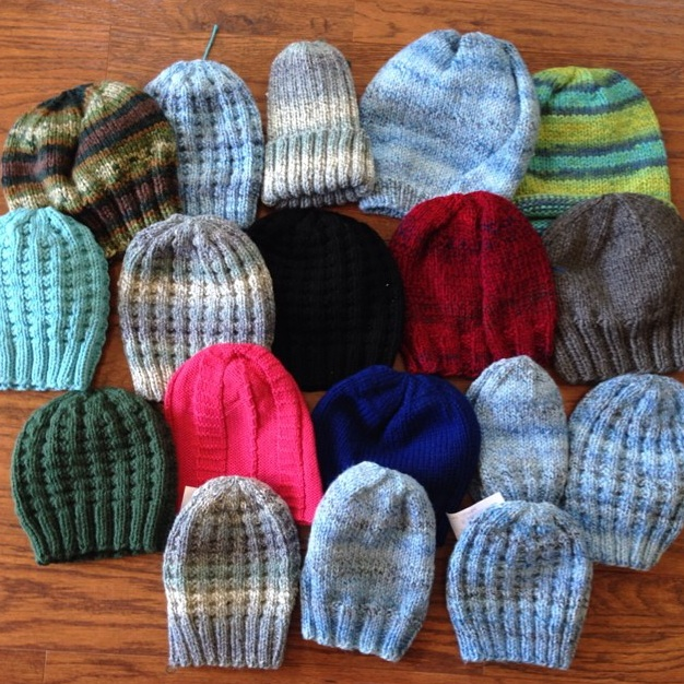 A huge delivery of Charity Hat-Along hats!