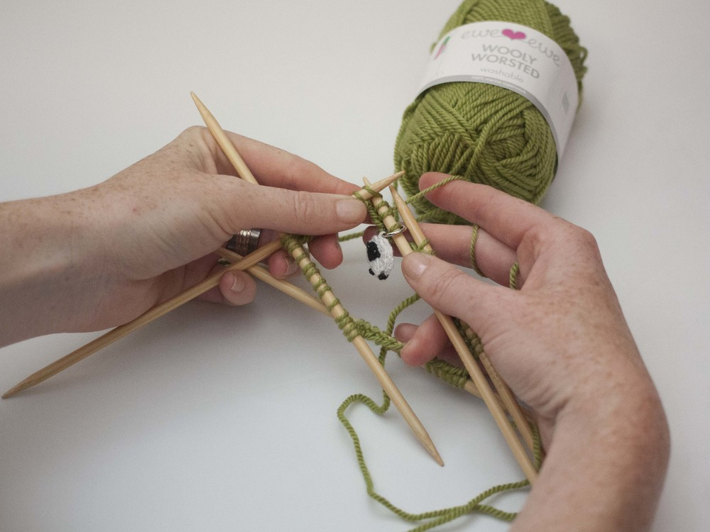 knitting with double-pointed needles