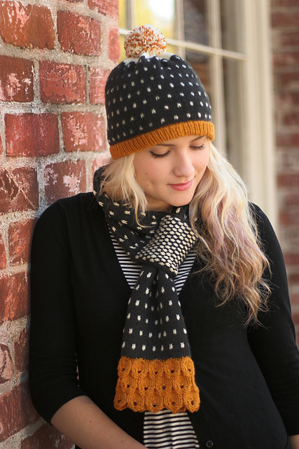 Freckles Scarf & Hat Set knitting pattern by Amanda Rios in Ewe So Sporty yarn