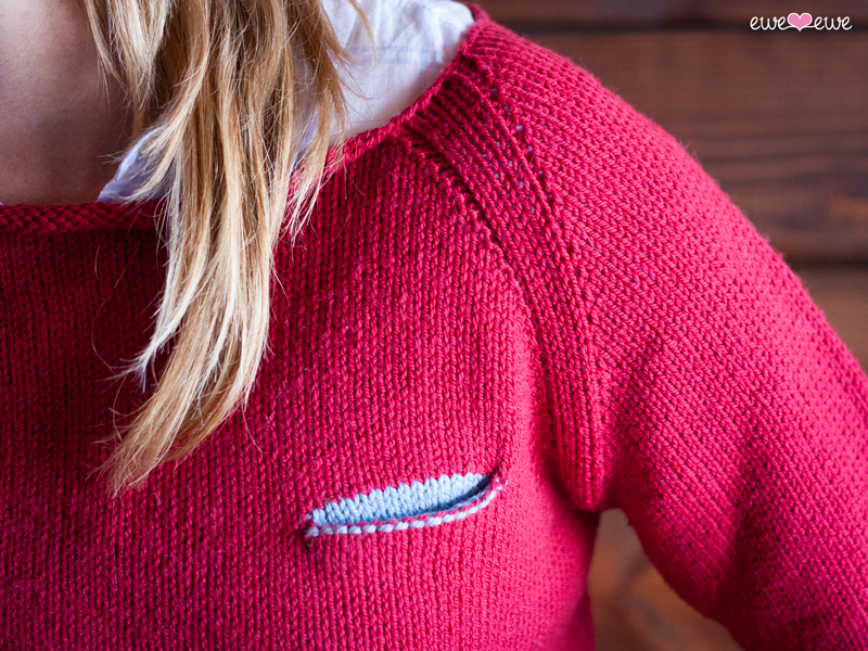 Pilsner Pullover knitting pattern pocket detail