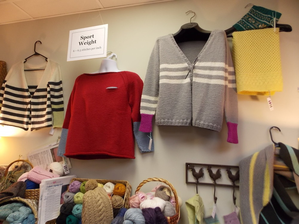 Knit sweaters at the Hillsborough Yarn Shop
