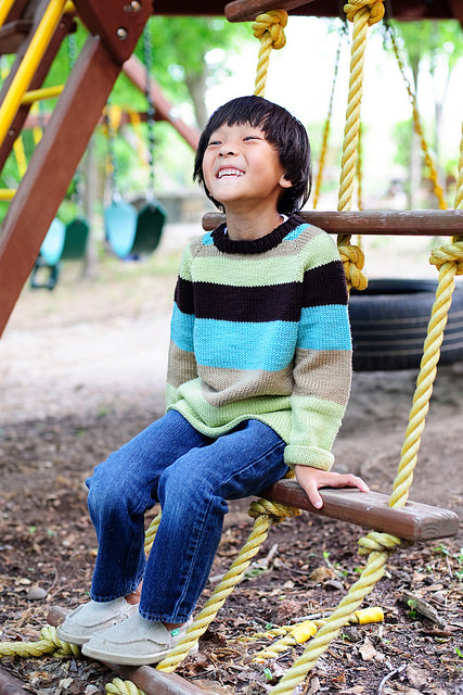 Striated Crew children's sweater pattern by Kate Oates in Knits for Boys