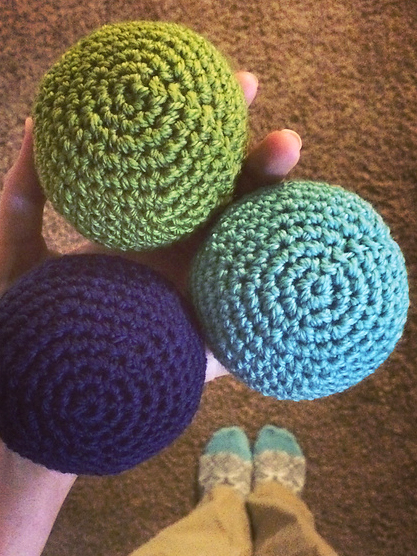 Soft Sphere Balls designed by Sarah Jo Burch  crocheted with Ewe Ewe  Wooly Worsted yarn
