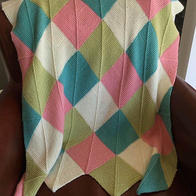 Mitered baby blanket in Ewe So Sporty yarn