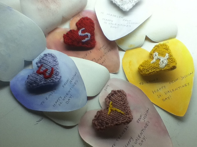 Knitted heart notes by prettyjess82