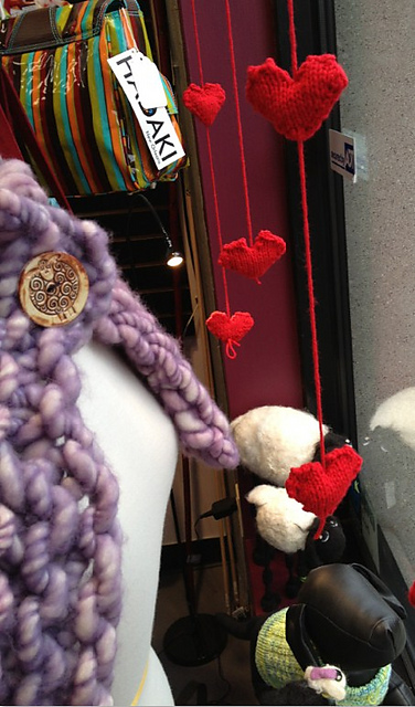 Knit hearts for a window display by maxfun