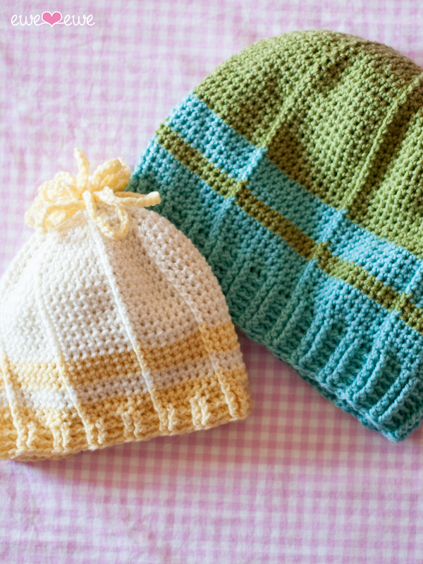 Spring Chicks crochet hats using Ewe So Sporty yarn
