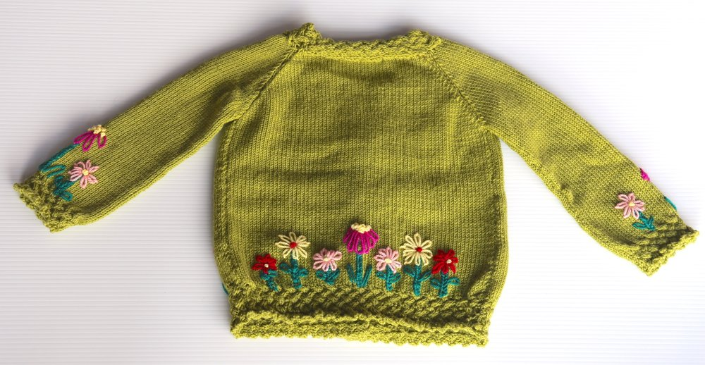 A Basket Full of Posies sweater from Cast On Magazine.