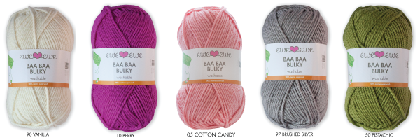 Baa Baa Bulky in colors 90 Vanilla, 10 Berry, 05 Cotton Candy, 97 Brushed Silver, 50 Pistachio