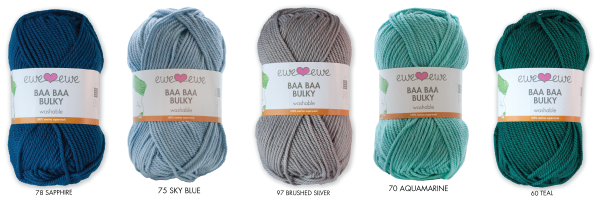 Baa Baa Bulky in colors 78 Sapphire, 75 Sky Blue, 97 Brushed Silver, 70 Aquamarine, 60 Teal