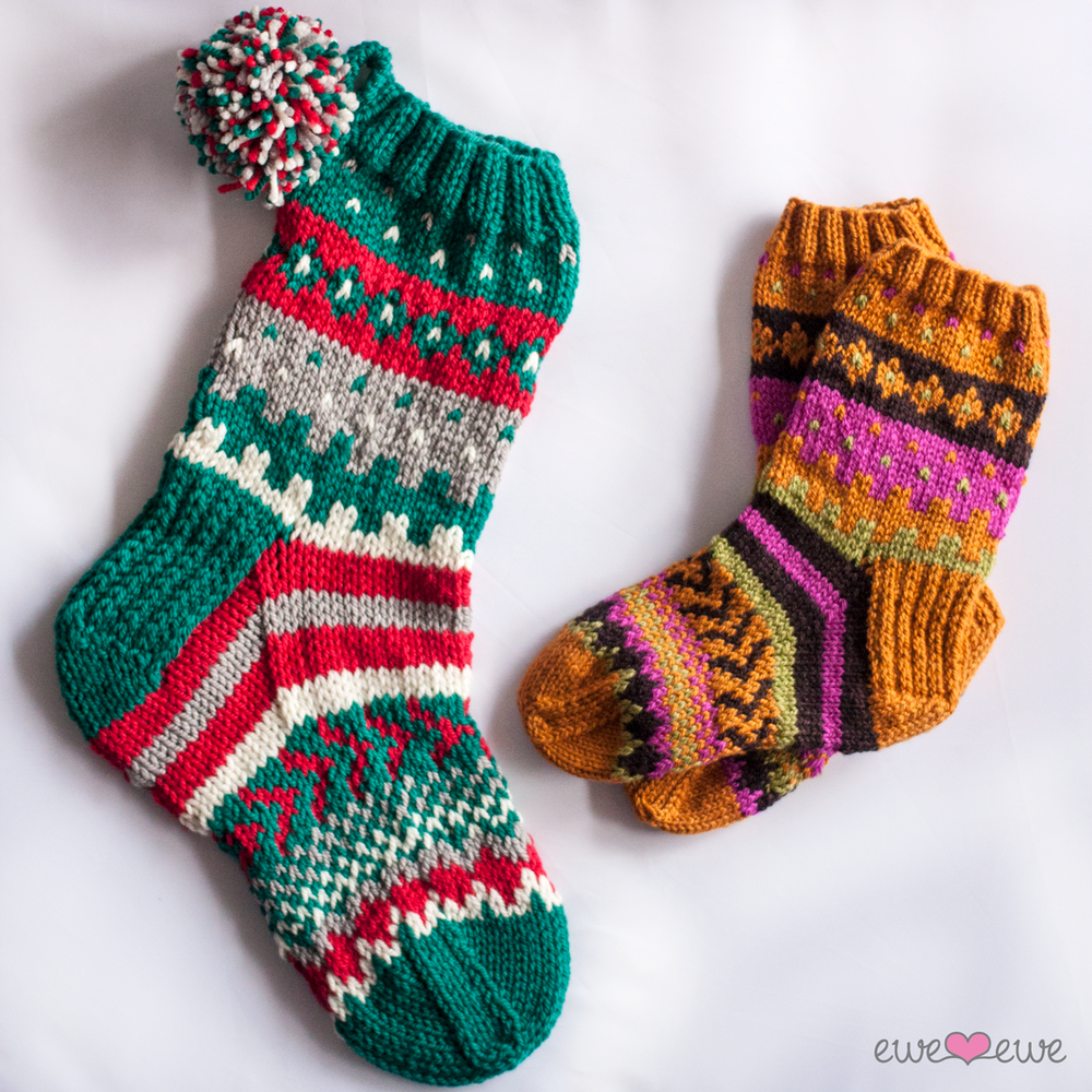 Southwest Stockings  free Fair Isle socks and Christmas stocking pattern designed by Heather Walpole