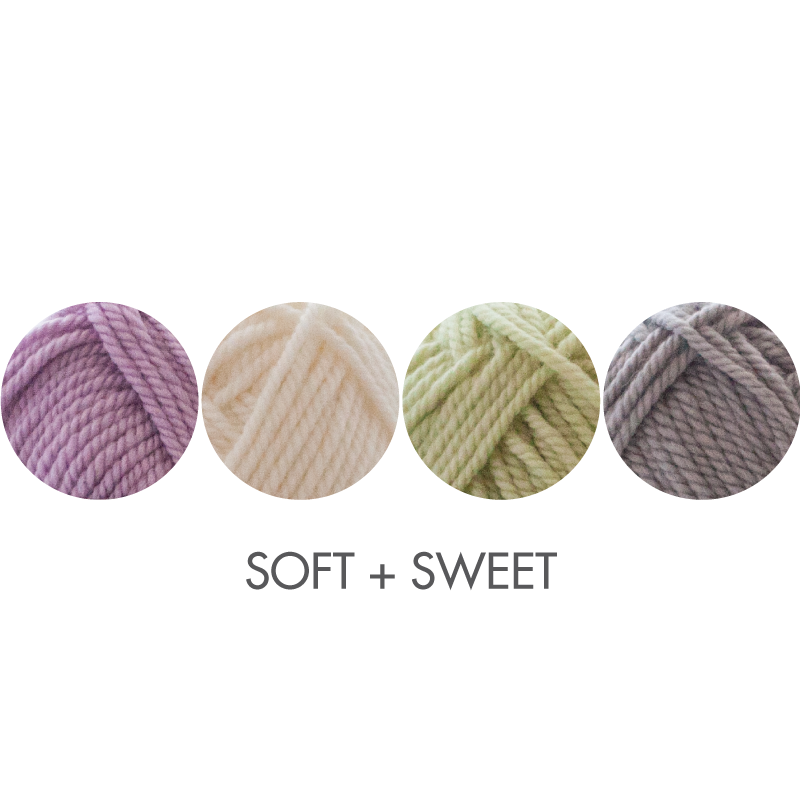 Cozy Socks kit color option:  Soft + Sweet