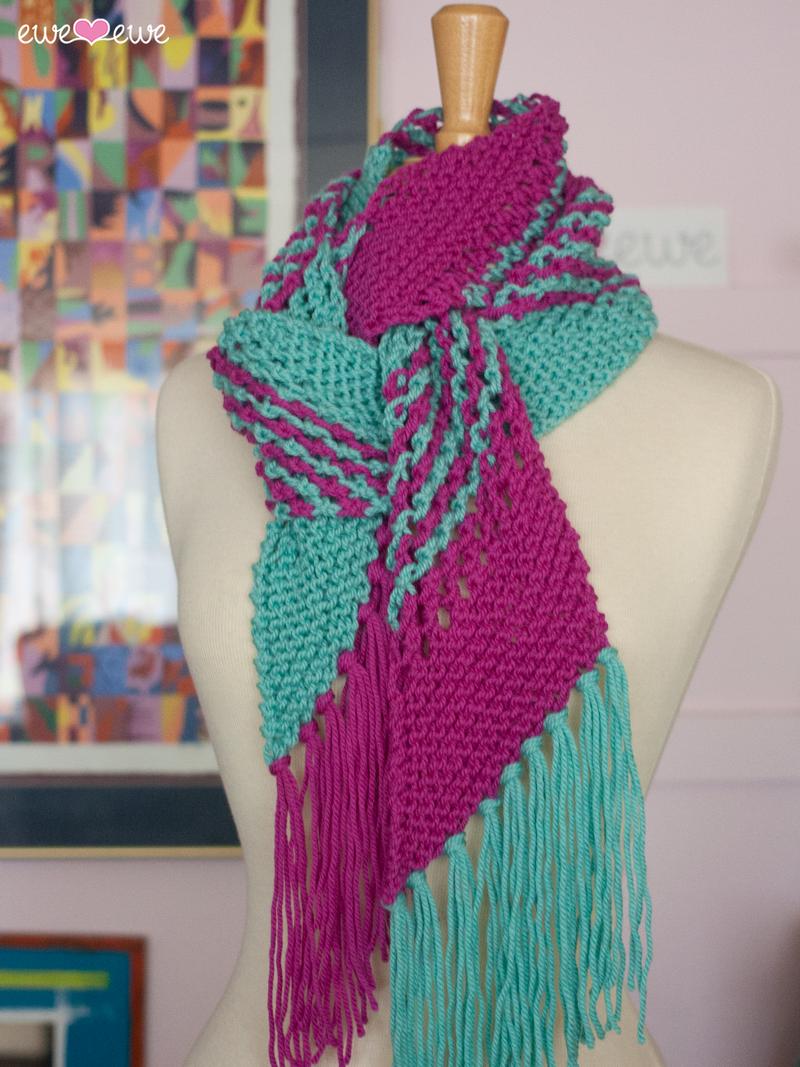 Blue Raspberry Jam Pdf Scarf Knitting Pattern Ewe Ewe Yarns