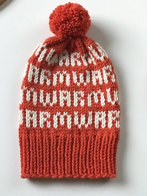 Warmluwa free hat pattern by Helena Granholm  using Ewe Ewe Baa Baa bulky merino yarn