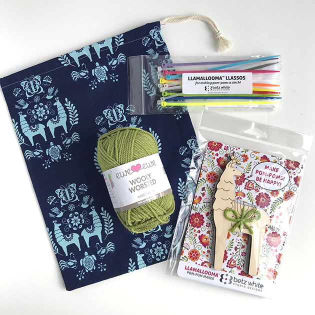 Llamallooma pom pom kit with handmade bag and Wooly Worsted yarn.  Buy kit >