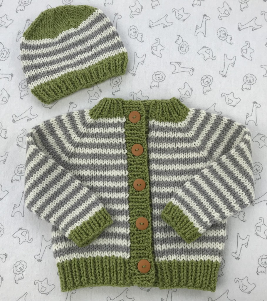 Little Coffee Bean Bulky baby sweater and hat set by Elizabeth Smith