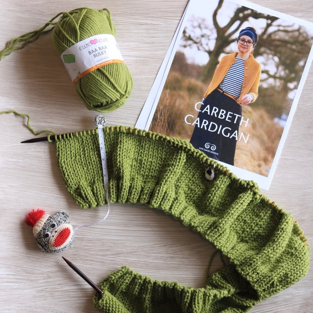 We're knitting the Carbeth Cardigan as a knit-along with Baa Baa Bulky yarn from Ewe Ewe.  Click here to see all the updates >