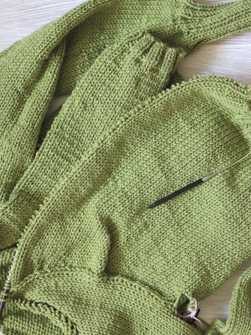 Picking up stitches on the edge of a sweater for button bands