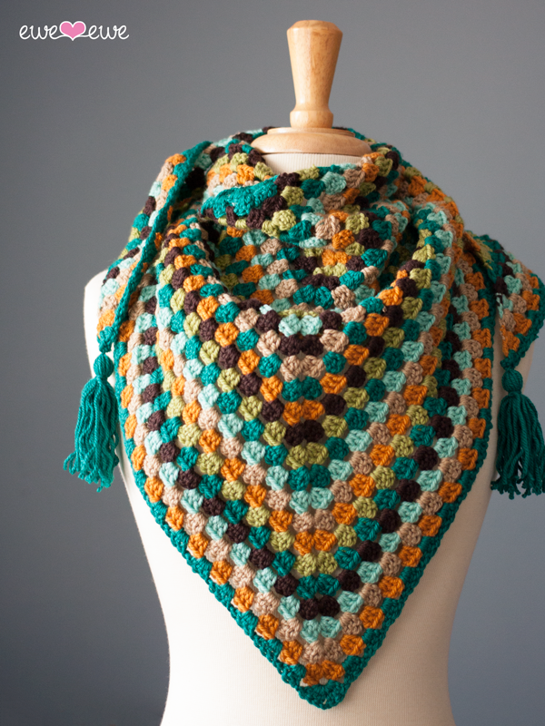 Wearever Wrap crochet granny square shawl