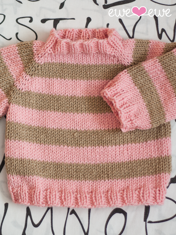 Easy As ABC top-down raglan baby sweater knitting pattern