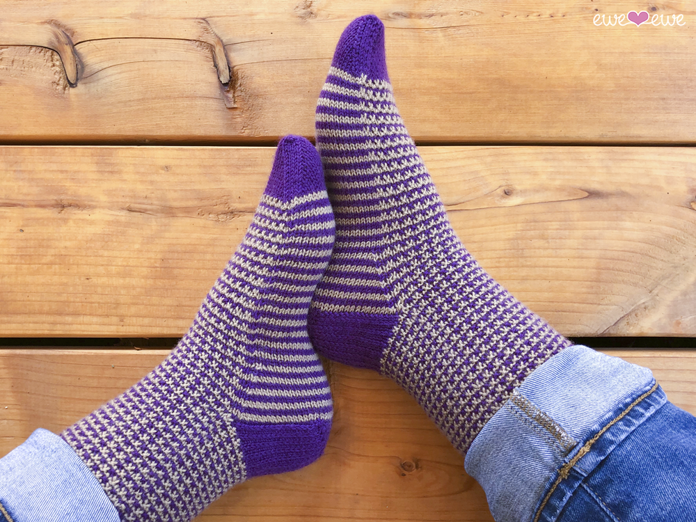 Stripe It to Me socks knitting pattern  featuring Fluffy Fingering yarn